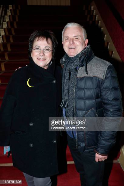 Singer MariePaule Belle and Michel Miletti attend the Michele Bernier One Woman Show Vive Demain at Theatre des Varietes on January 28 2019 in Paris...