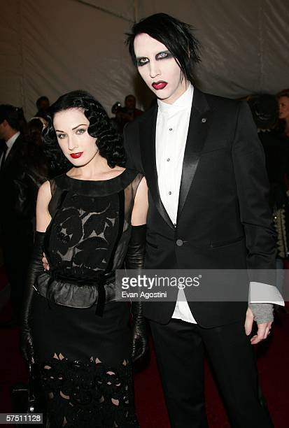 Singer Marilyn Manson and wife Dita Von Teese attend the Metropolitan Museum of Art Costume Institute Benefit Gala Anglomania at the Metropolitan...