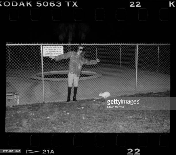 Singer Marilyn Manson poses for photos on a school playground circa 1990 in Ft. Lauderdale, Florida.