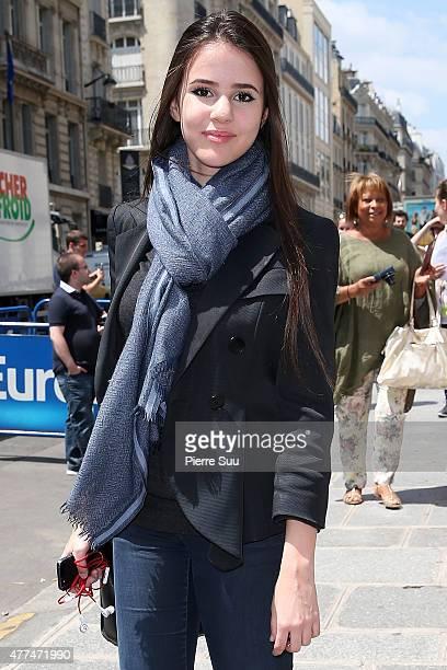 Singer Marina Kaye leaves Europe 1 Radio on June 17 2015 in Paris France