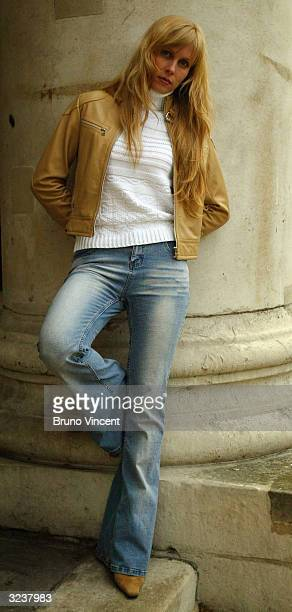 Singer Marina Lazlo poses for photographers outside St John Smith Square April 7 2004 in London The Russian born singer of jazz blues and folk songs...