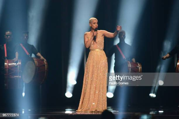 Singer Mariza is seen pewrforming at Eurovision Song Content Grand Final 2018 at Altice Arena on May 12 2018 in Lisbon Portugal