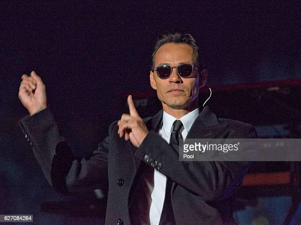 Singer Mark Anthony performs at the National Christmas Tree Lighting attended by the first family on the Ellipse December 1 2016 in Washington DC...