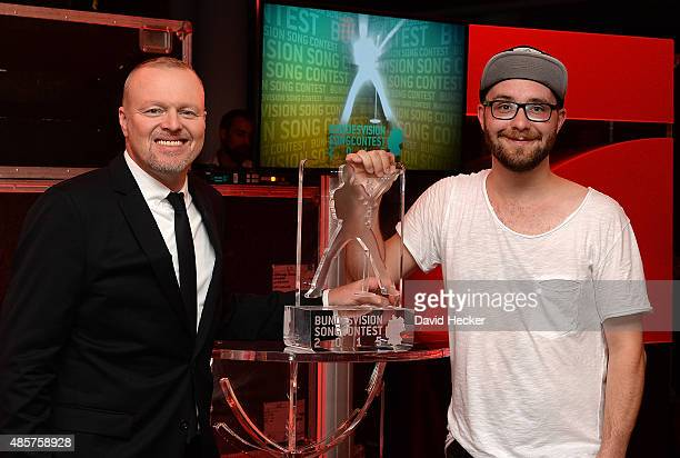 Singer Mark Forster and entertainer Stefan Raab poses after the Bundesvision Song Contest 2015 at OVB-Arena on August 29, 2015 in Bremen, Germany. On...