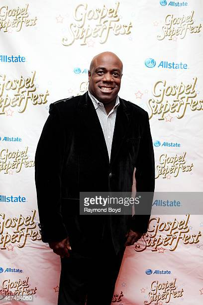 Singer Mark Hubbard from Mark Hubbard and The Voices poses for photos on the red carpet for the Allstate Gospel SuperFest 2015 at House Of Hope Arena...