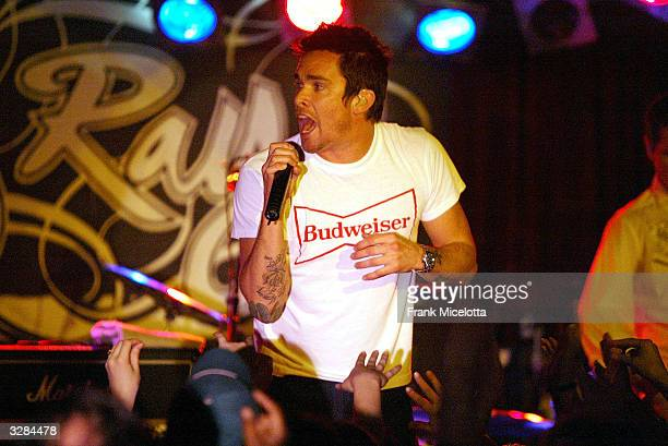"Singer Mark McGrath of Sugar Ray performs during the first show of their ""Make Every Mile Count "" tour at the BB King Blues Club on April 8, 2004 in..."