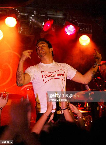 Singer Mark McGrath of Sugar Ray performs during the first show of their Make Every Mile Count tour at the BB King Blues Club on April 8 2004 in New...