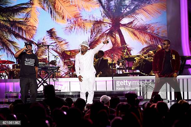 Singer Markell Riley of WreckxnEffect honoree Teddy Riley and singer Aqil Davidson of WreckxnEffect perform onstage during the 2016 Soul Train Music...