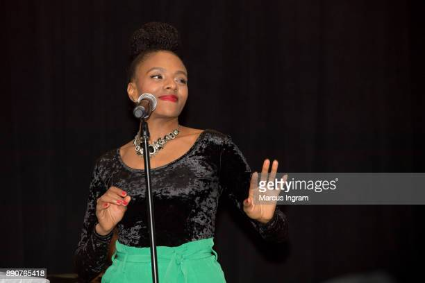 Singer Marleen Thimas performs onstage during the '5th Annual Caroling with Q Parker and Friends' at Atlanta Marriott Buckhead on December 11 2017 in...
