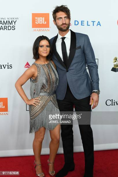 Singer Marren Morris arrives for the traditionnal Clive Davis party on the eve of the 60th Annual Grammy Awards on January 28 in New York / AFP PHOTO...