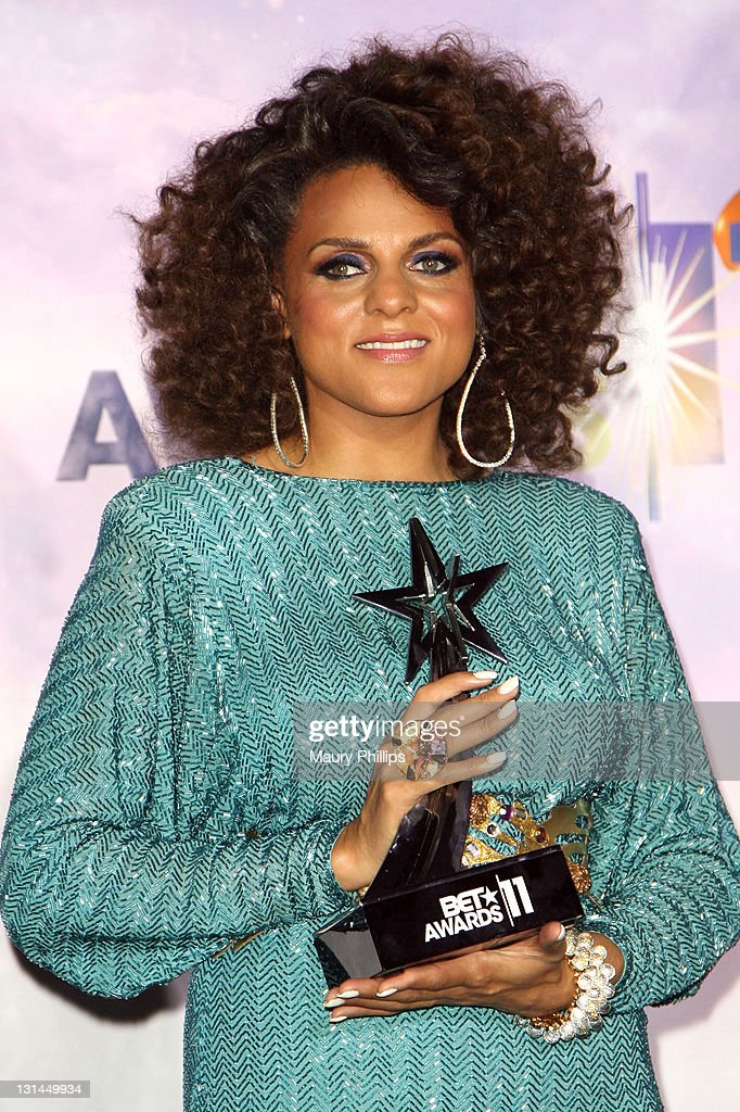 Singer Marsha Ambrosius poses in the press room at the BET Awards '11 held at The Shrine Auditorium on June 26, 2011 in Los Angeles, California.
