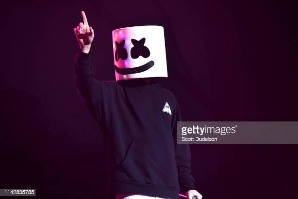 Singer Marshmello performs onstage as a special guest of Khalid during Weekend 1 Day 3 of the Coachella Valley Music and Arts Festival on April 14...