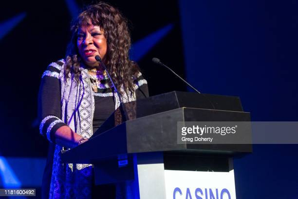 Singer Martha Reeves accepts the Casino Entertainment Legend Award at the Global Gaming Expo's seventh annual Casino Entertainment Awards at Vinyl...