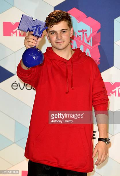 Singer Martin Garrix poses in the winner's room after receiving the Best World Stage award during the MTV Europe Music Awards 2016 on November 6 2016...