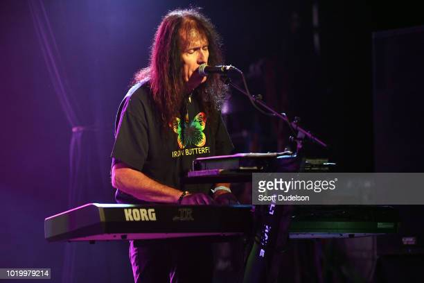 Singer Martin Gerschwitz of the classic rock band Iron Butterfly performs onstage at The Canyon on August 19 2018 in Agoura Hills California