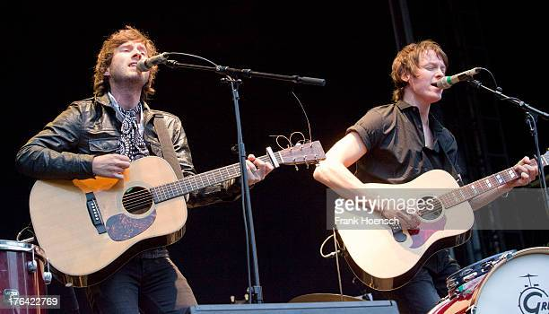 Singer Martin Kelly and James O'Neill of the band Martin and James perform live in support of Glen Hansard during a concert at the Zitadelle Spandau...