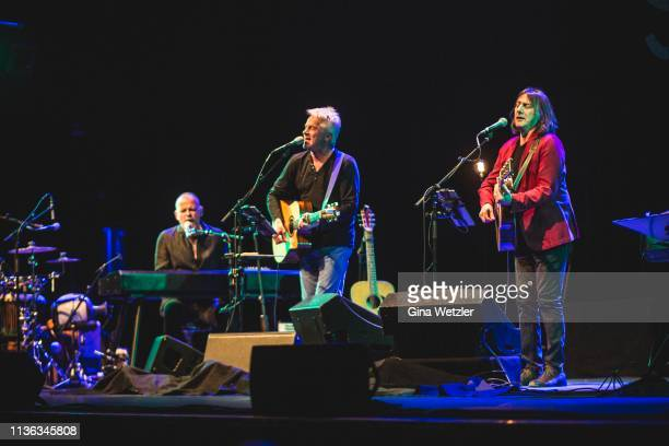Singer Martin Kälberer Pippo Pollina and Werner Schmidbauer of Süden II perform live on stage during a concert at Admiralspalast on April 11 2019 in...
