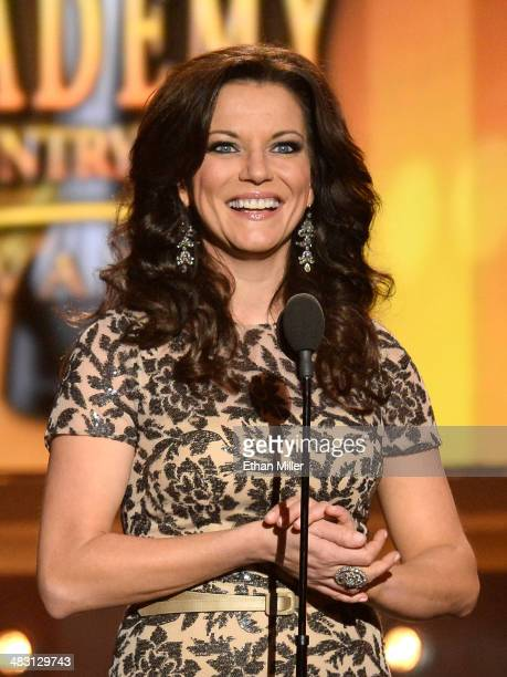 Singer Martina McBride speaks onstage during the 49th Annual Academy of Country Music Awards at the MGM Grand Garden Arena on April 6 2014 in Las...