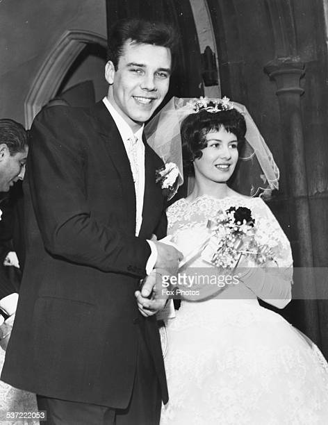 Singer Marty Wilde and his new bride Joyce Baker pictures outside the church on their wedding day London December 2nd 1959