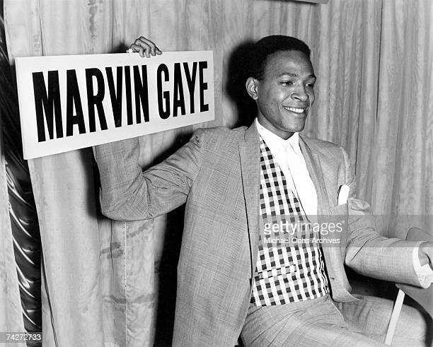 B singer Marvin Gaye holds court at a press conference at Heathrow Airport in circa 1964 as he arrives in London England
