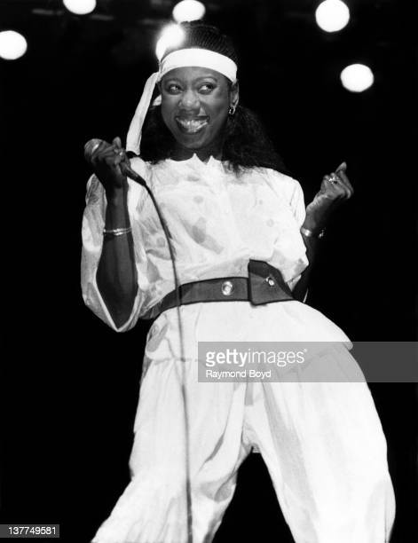 Singer Mary Davis of the SOS Band performs at the Auditorium Theater in Chicago Illinois in 1984