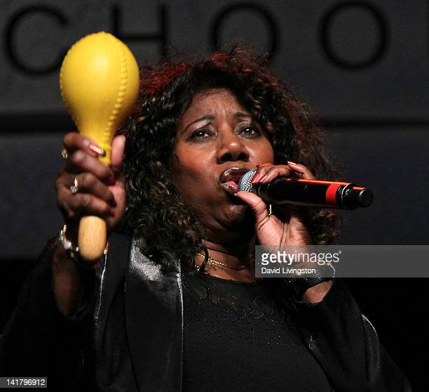 Singer Mary Davis of the SOS Band performs on stage at FUNKAPALOOZA presented by Hot 923 at Gibson Amphitheatre on March 23 2012 in Universal City...