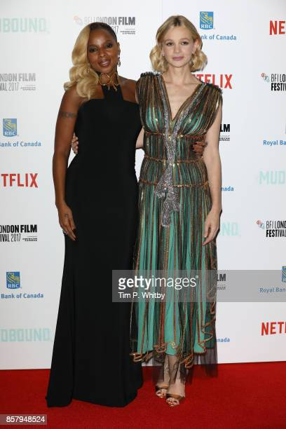Singer Mary J Blige and actress Carey Mulligan attend the Royal Bank of Canada Gala European Premiere of Mudbound during the 61st BFI London Film...