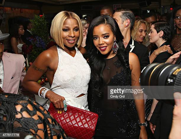 Singer Mary J Blige and designer Angela Simmons attend the Casa Reale Fine Jewelry Launch at The Box on June 17 2015 in New York City