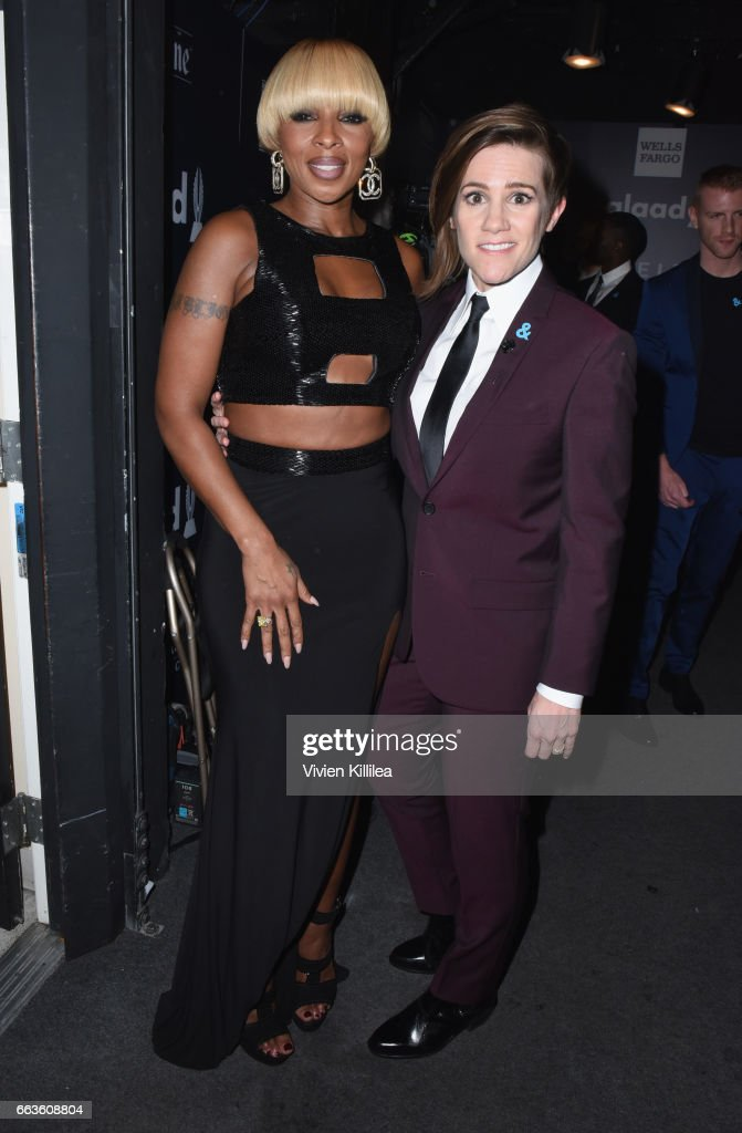 Singer Mary J. Blige (L) and host Cameron Esposito attend 28th Annual GLAAD Media Awards in LA at The Beverly Hilton Hotel on April 1, 2017 in Beverly Hills, California.