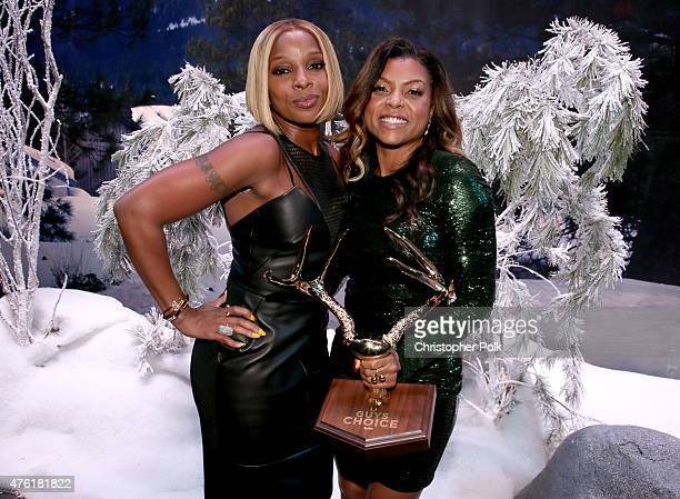 Singer Mary J Blige and host Taraji P Henson attend Spike TV's Guys Choice 2015 at Sony Pictures Studios on June 6 2015 in Culver City California