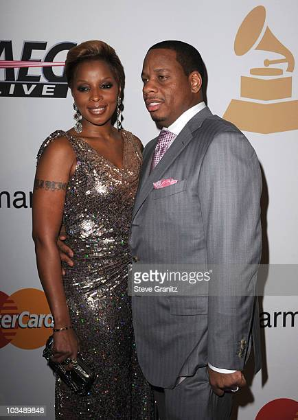 Singer Mary J Blige and Kendu Isaacs arrive at the 52nd Annual GRAMMY Awards Salute To Icons Honoring Doug Morris held at The Beverly Hilton Hotel on...
