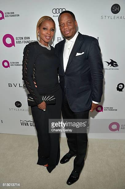 Singer Mary J Blige and Kendu Isaacs attend Neuro at the 24th Annual Elton John AIDS Foundation's Oscar Viewing Party at The City of West Hollywood...