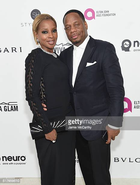 Singer Mary J Blige and Kendu Isaacs attend the 24th Annual Elton John AIDS Foundation's Oscar Viewing Party at The City of West Hollywood Park on...
