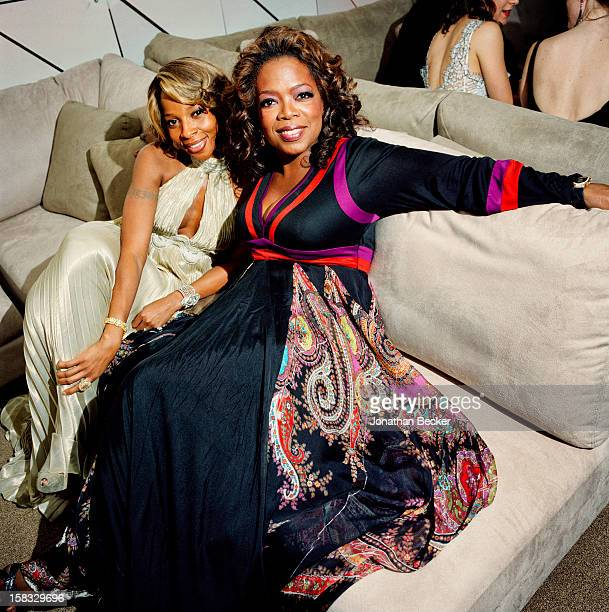 Singer Mary J. Blige and mogul Oprah Winfrey are photographed for Vanity Fair Magazine on February 25, 2007 at the Vanity Fair Oscar Party at...