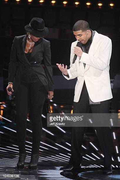 Singer Mary J Blige and rapper Drake perform onstage during the 2010 MTV Video Music Awards at NOKIA Theatre LA LIVE on September 12 2010 in Los...