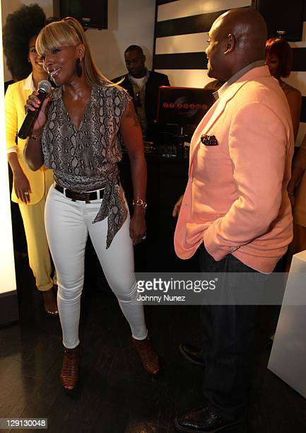 Singer Mary J Blige and Record Executive Steve Stoute attend the Carol's Daughter Spokesbeauty Monoi Repairing Collection launch at Sephora on May 24...