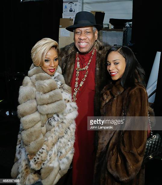 Singer Mary J Blige Andre Leon Talley and guest attends the Dennis Basso show during MercedesBenz Fashion Week Fall 2014 at The Theatre at Lincoln...