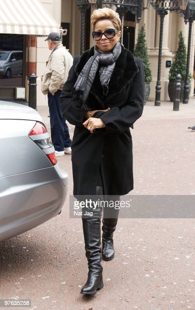 Singer Mary J Blige arrives at Capital Radio on March 11 2010 in London England
