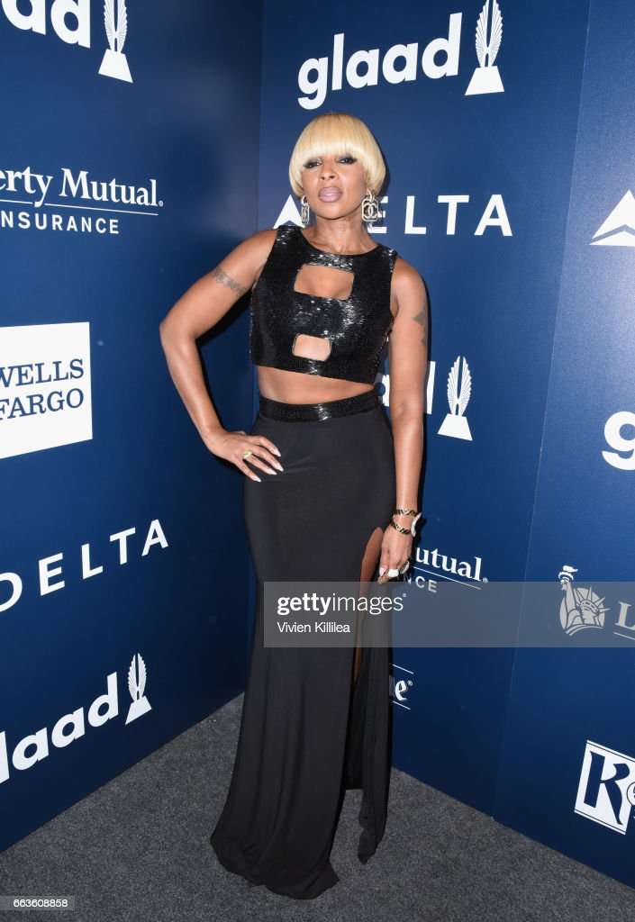 Singer Mary J. Blige attends 28th Annual GLAAD Media Awards in LA at The Beverly Hilton Hotel on April 1, 2017 in Beverly Hills, California.