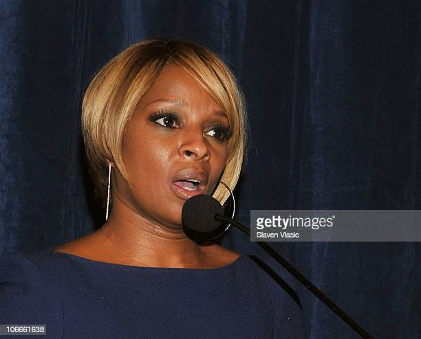 B singer Mary J Blige attends the HELP USA 2010 Domestic Violence Graduate Scholarship awards luncheon hosted by by Marcia Gay Harden and Deborah...