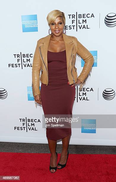 Singer Mary J Blige attends the world premiere documentary Mary J Blige The London Sessions during the 2015 Tribeca Film Festival at Beacon Theatre...