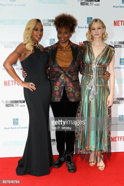 Singer Mary J Blige director Dee Rees and actress Carey Mulligan attend the Royal Bank of Canada Gala European Premiere of Mudbound during the 61st...