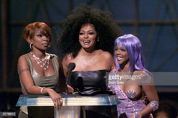 Singer Mary J Blige with Diana Ross and Rapper Lil Kim at the 1999 MTV Video Music Awards held in New York City NY on September 9 1999