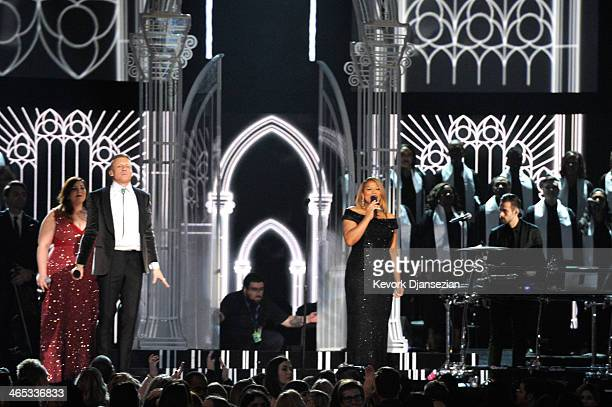 Singer Mary Lambert rapper Macklemore singer/actress Queen Latifah and musician Ryan Lewis perform onstage during the 56th GRAMMY Awards at Staples...