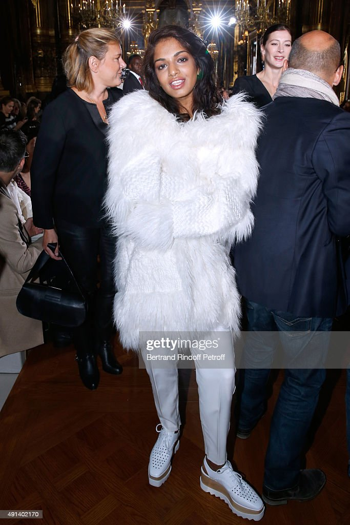 Singer Mathangi 'Maya' Arulpragasam alias M.I.A. attends the Stella McCartney show as part of the Paris Fashion Week Womenswear Spring/Summer 2016. Held at Opera Garnier on October 5, 2015 in Paris, France.