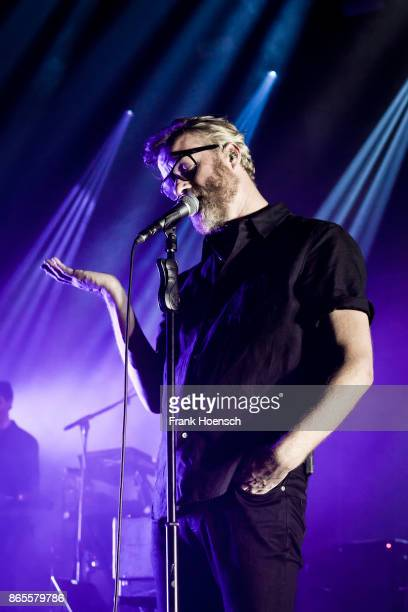 Singer Matt Berninger of the American band The National performs live on stage during a concert at the Tempodrom on October 23 2017 in Berlin Germany