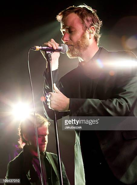 Singer Matt Berninger of the US band The National performs live during a concert at the Columbiahalle on February 25 2011 in Berlin Germany