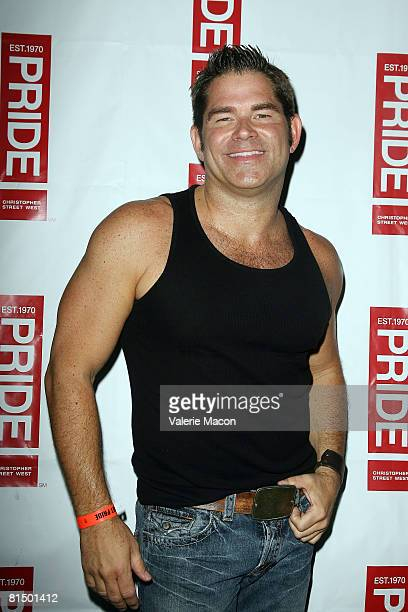 Singer Matt Zarley arrives at the Los Angeles Gay Pride on Santa Monica Boulvard on June 8 2008 in West Hollywood California