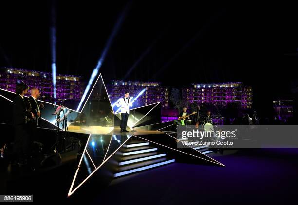 Singer Matteo Brancaleoni performs during the Grand Opening of Bulgari Dubai Resort on December 5 2017 in Dubai United Arab Emirates