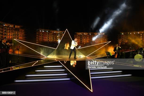 Singer Matteo Brancaleoni performs during the Grand Opening of Bulgari Dubai Resort on December 5, 2017 in Dubai, United Arab Emirates.